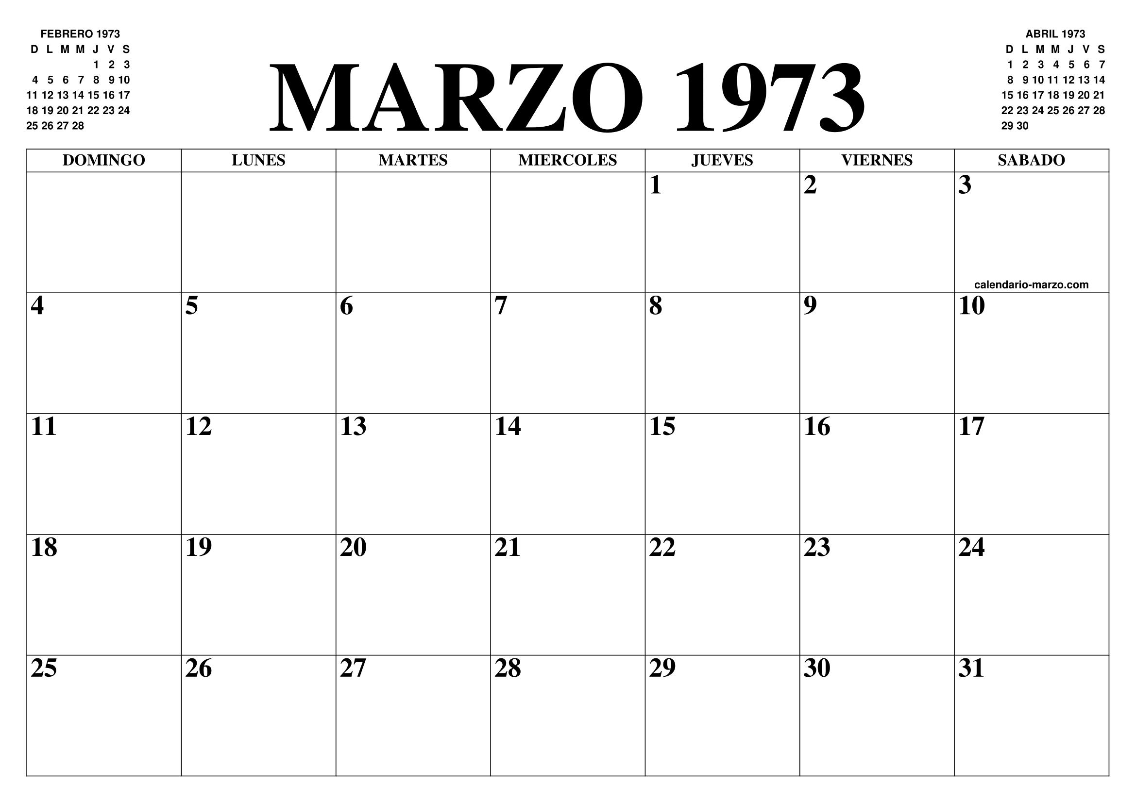Calendario 1973.Calendario Marzo 1973 El Calendario Marzo Para Imprimir