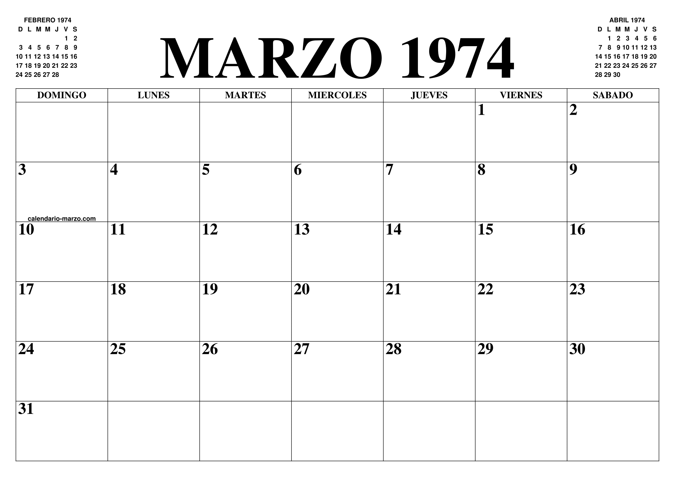 Calendario 1974.Calendario Marzo 1974 El Calendario Marzo Para Imprimir