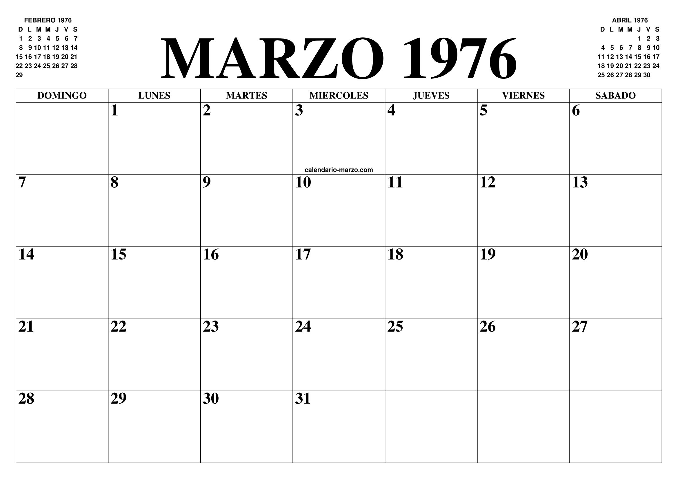 Calendario 1976.Calendario Marzo 1976 El Calendario Marzo Para Imprimir