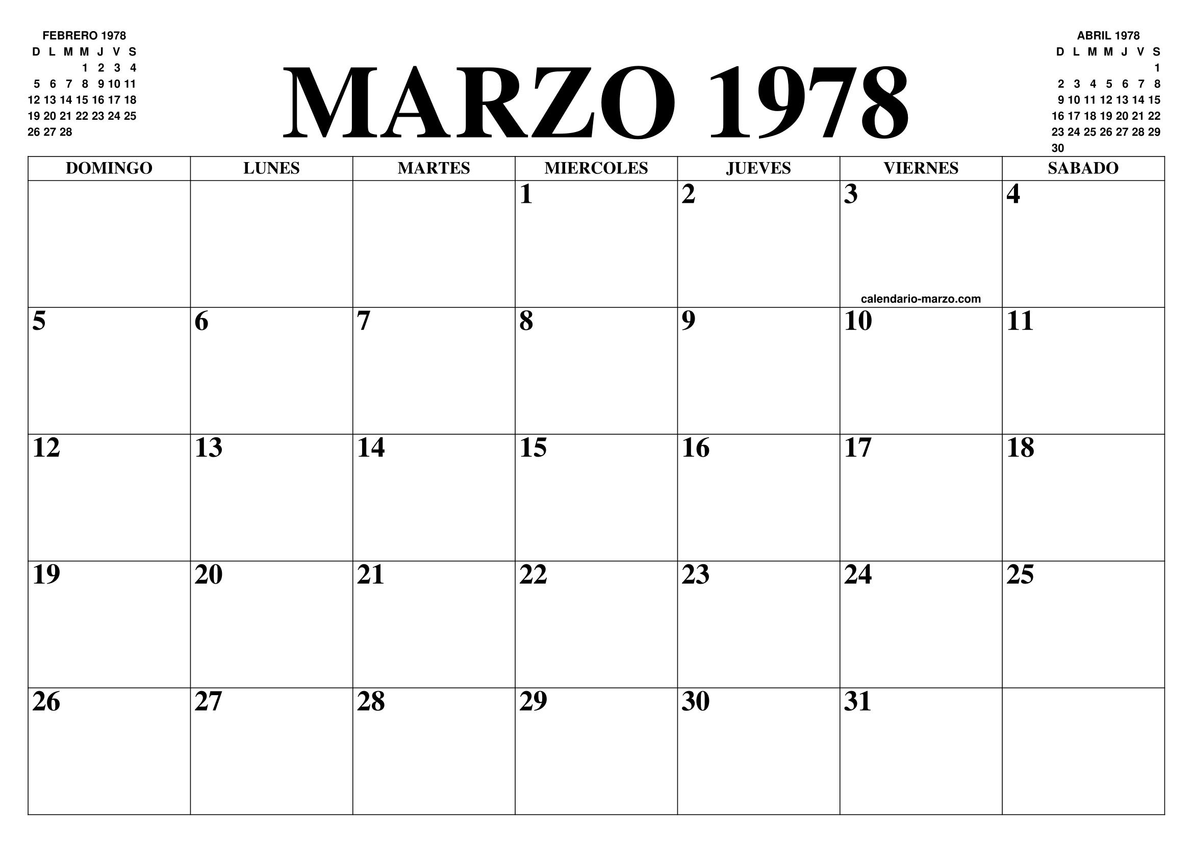 1978 Calendario.Calendario Marzo 1978 El Calendario Marzo Para Imprimir