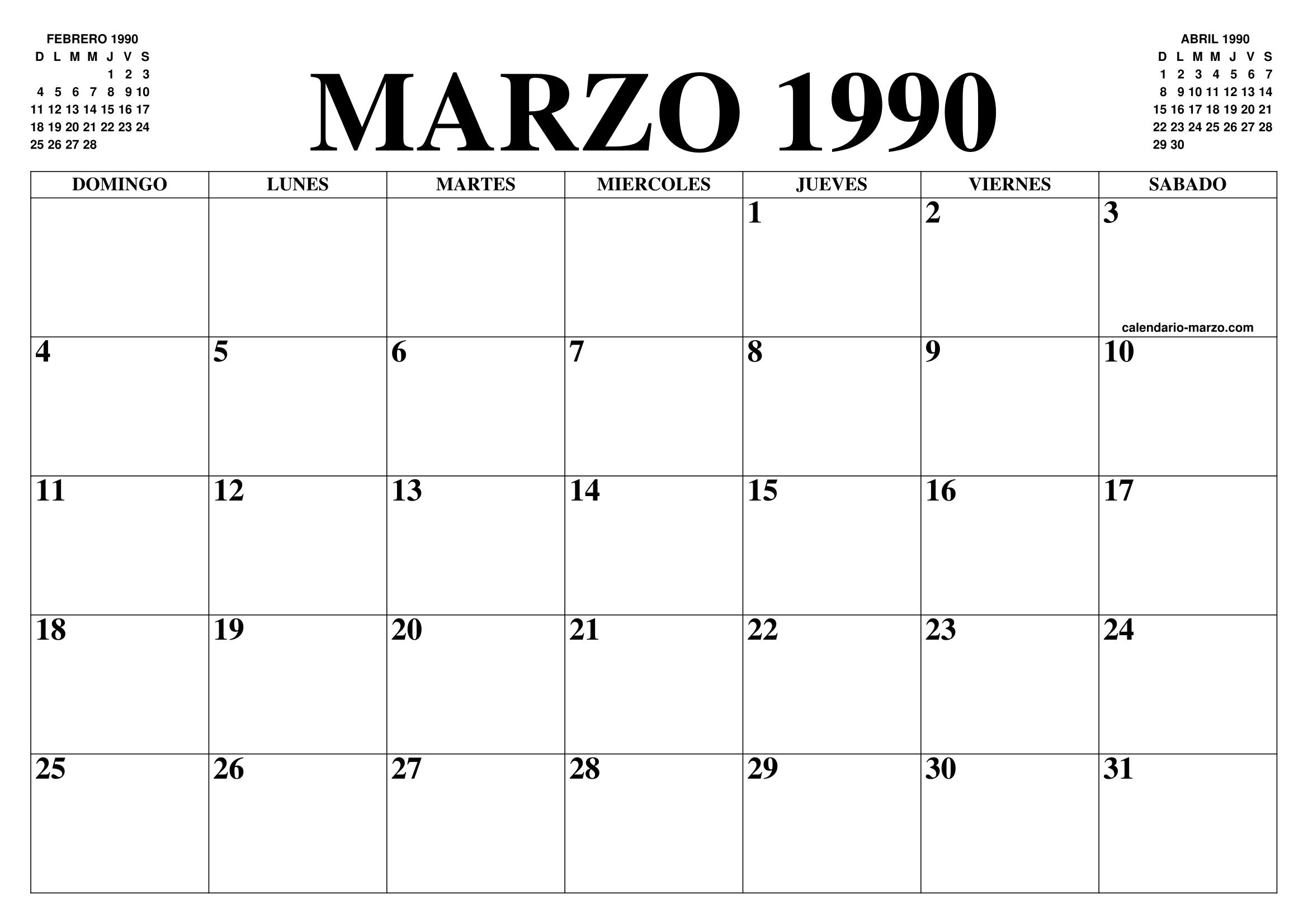 1990 Calendario.Calendario Marzo 1990 El Calendario Marzo Para Imprimir