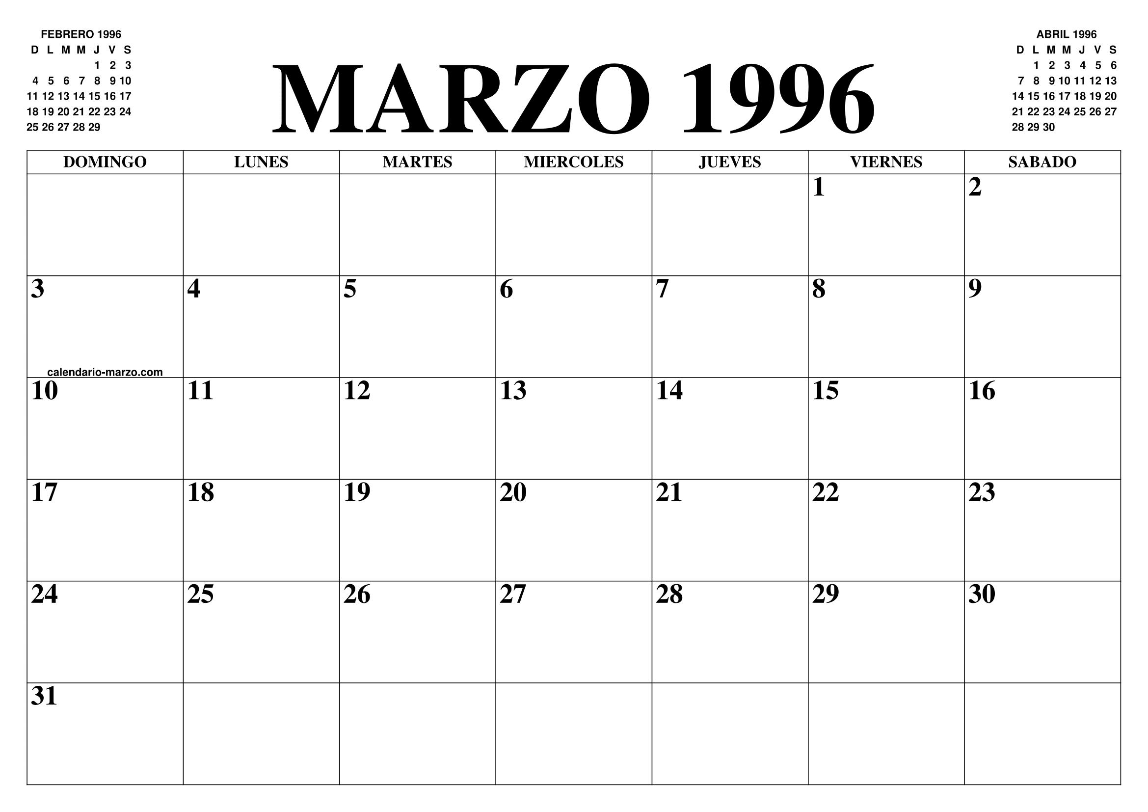 Calendario 1996.Calendario Marzo 1996 El Calendario Marzo Para Imprimir