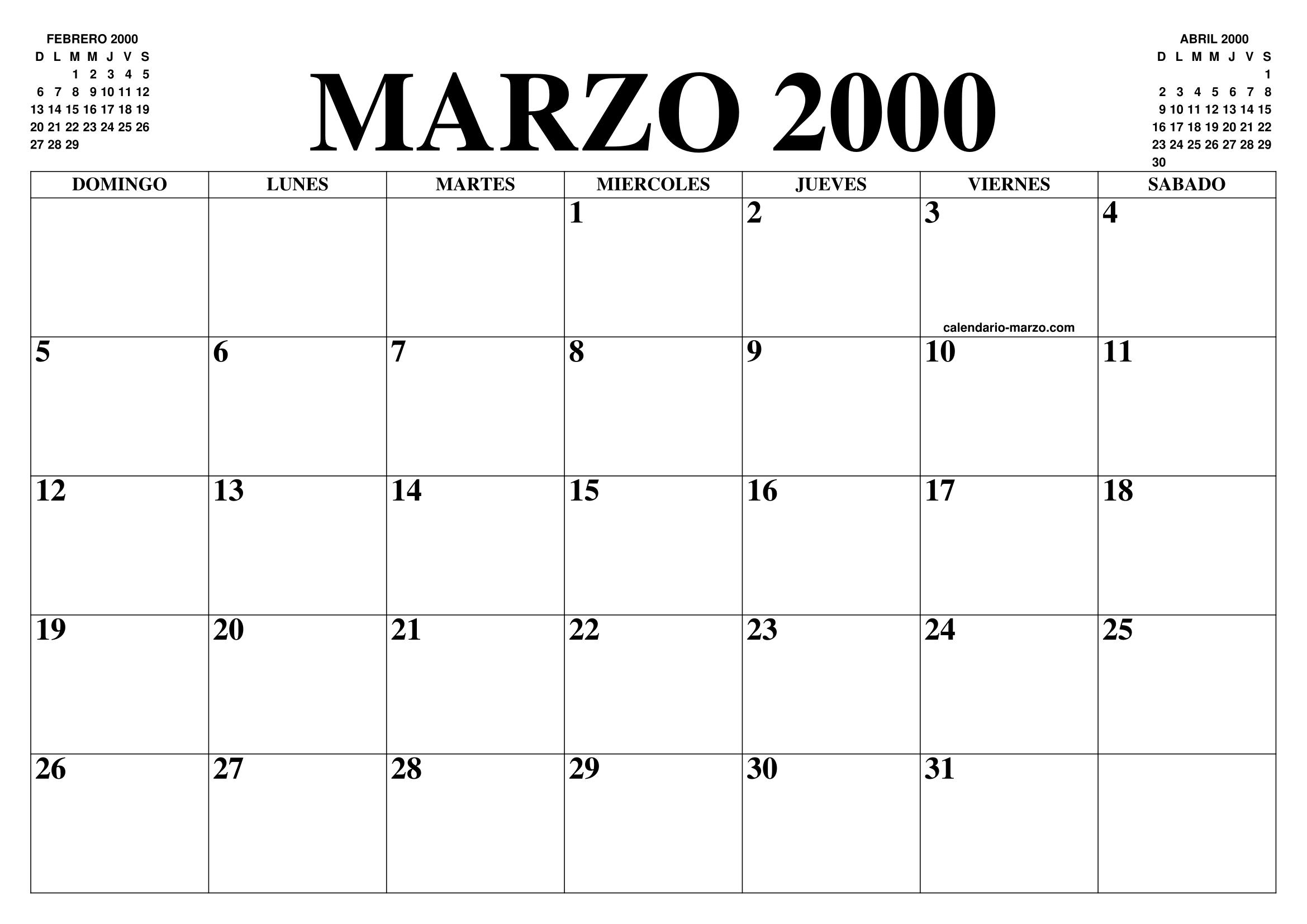 Calendario Del 2000.Calendario Marzo 2000 El Calendario Marzo Para Imprimir