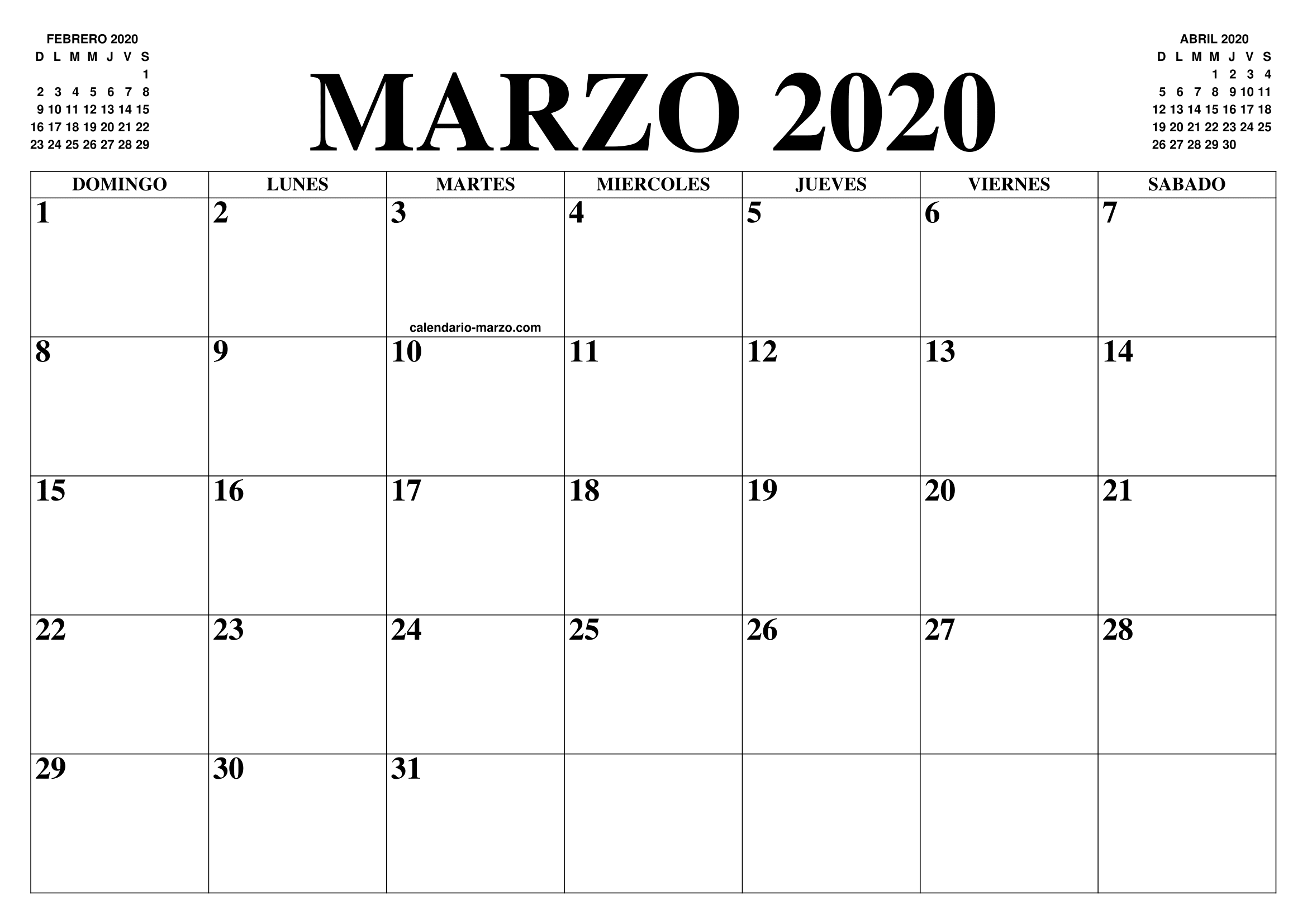 Calendario Agenda 2020 Para Imprimir.Calendario Marzo 2020 El Calendario Marzo Para Imprimir